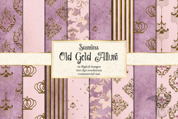 Print on Demand: Old Gold Allure Digital Paper Graphic Textures By Digital Curio