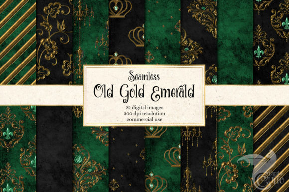 Print on Demand: Old Gold Emerald Digital Paper Graphic Textures By Digital Curio