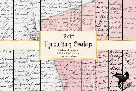 Old Handwriting Overlays Grafik Texturen von Digital Curio