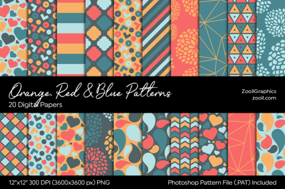 Orange, Red & Blue Digital Papers Graphic Patterns By ZoollGraphics