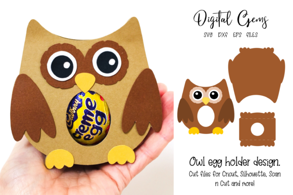 Download Free Owl Egg Holder Design Graphic By Digital Gems Creative Fabrica for Cricut Explore, Silhouette and other cutting machines.