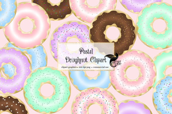 Print on Demand: Pastel Doughnut Clipart Graphic Illustrations By Digital Curio