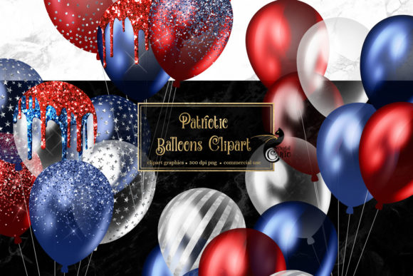 Print on Demand: Patriotic Balloons Clipart Graphic Illustrations By Digital Curio