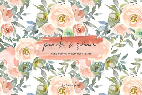 Peach & Green Watercolor Floral Clipart Graphic Illustrations By Patishop Art
