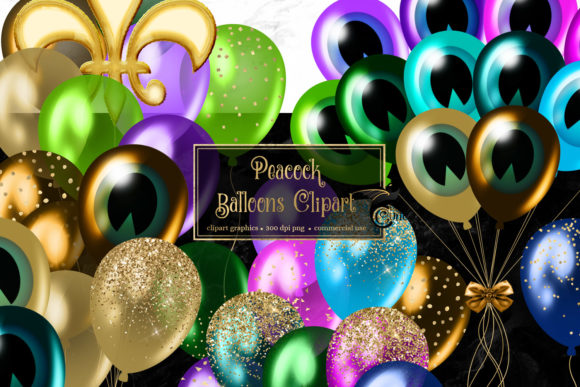 Print on Demand: Peacock Balloons Clipart Graphic Illustrations By Digital Curio
