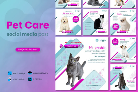 Print on Demand: Pet Care Social Media Post Template Graphic Websites By diqtam