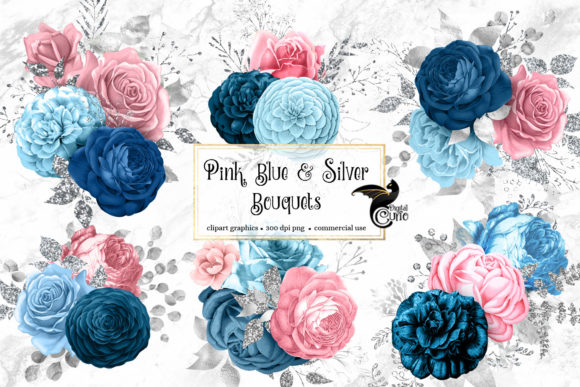 Print on Demand: Pink Blue and Silver Floral Bouquets Graphic Illustrations By Digital Curio