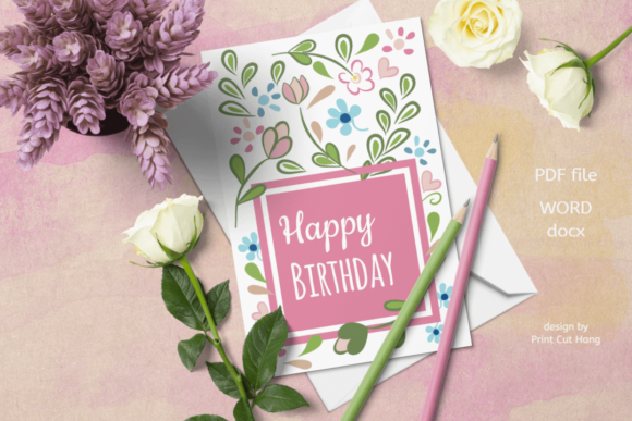 Pink Floral Birthday Card Templates Graphic By Print Cut Hang