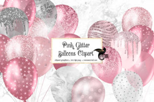 Print on Demand: Pink Glitter Balloons Clipart Graphic Illustrations By Digital Curio