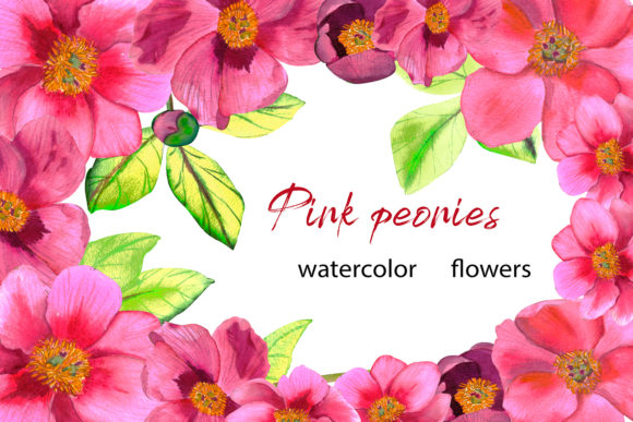 Print on Demand: Pink Peonies Watercolor Flowers Graphic Illustrations By ElenaZlataArt