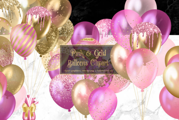 Print on Demand: Pink and Gold Balloons Clipart Graphic Illustrations By Digital Curio