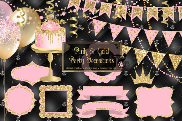 Pink and Gold Party Decorations Clipart Graphic Illustrations By Digital Curio - Image 1