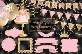 Print on Demand: Pink and Gold Party Decorations Clipart Graphic Illustrations By Digital Curio