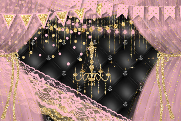 Pink and Gold Party Decorations Clipart Graphic Illustrations By Digital Curio - Image 2