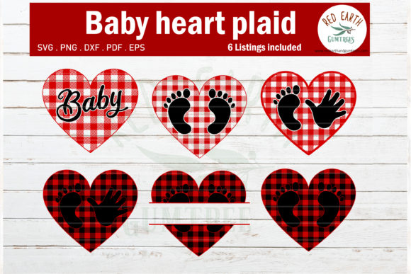 Plaid Pattern Baby Hand Feet Heart  Graphic Crafts By redearth and gumtrees