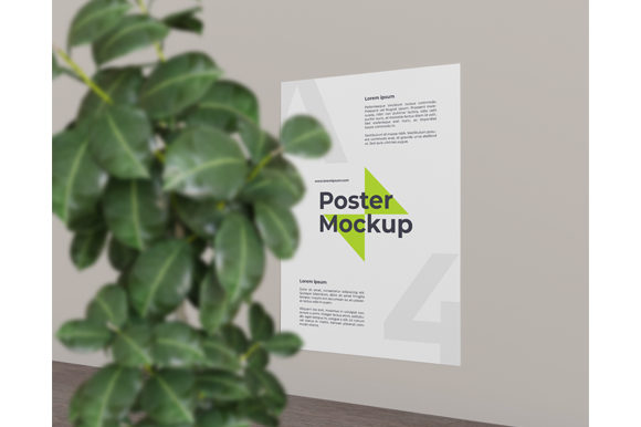 Poster Mockup with Close Up Plant Graphic Product Mockups By Muhazdinata