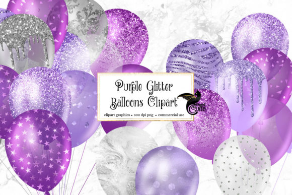 Print on Demand: Purple Glitter Balloons Clipart Graphic Illustrations By Digital Curio