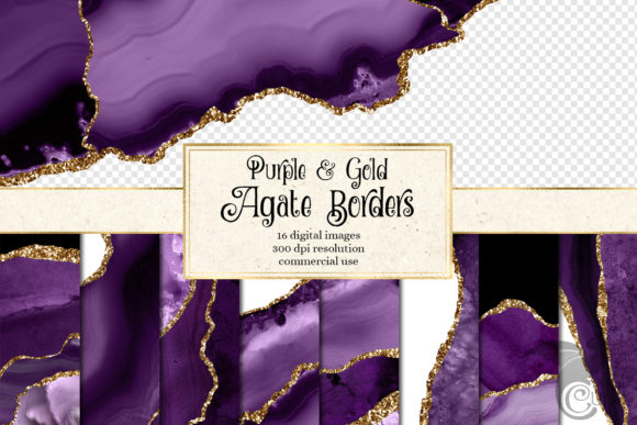 Purple and Gold Agate Borders Graphic Textures By Digital Curio