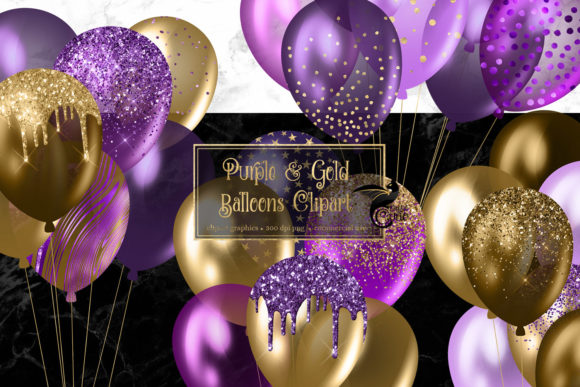 Print on Demand: Purple and Gold Balloons Clipart Graphic Illustrations By Digital Curio