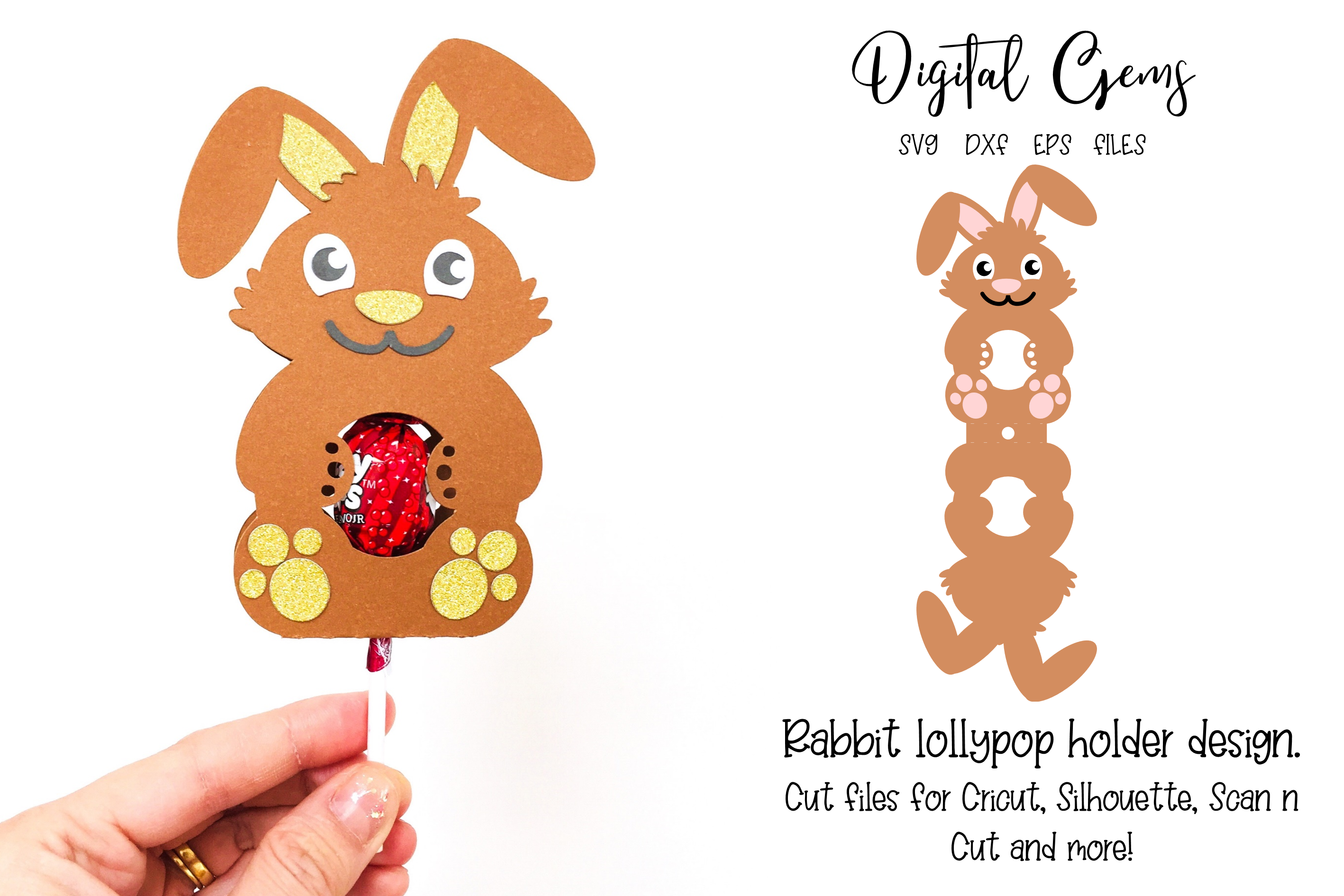 Download Free Rabbit Lollipop Holder Design Graphic By Digital Gems Creative for Cricut Explore, Silhouette and other cutting machines.