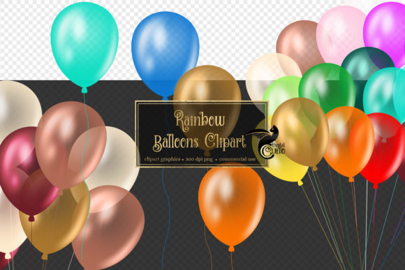 Rainbow Balloons Clipart Graphic Illustrations By Digital Curio