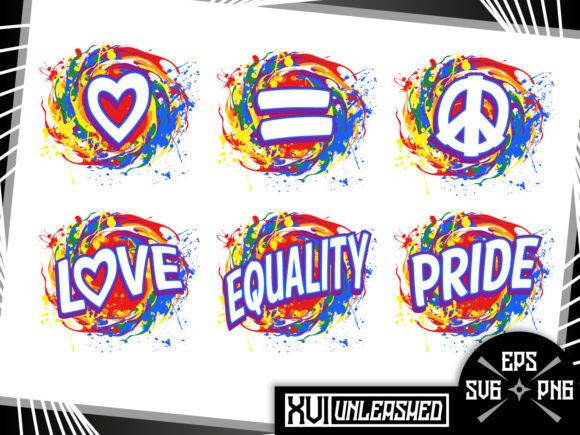 Print on Demand: Rainbows Love Equality Pride LGBT Vector Graphic Illustrations By XVI Unleashed