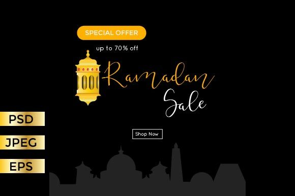 Download Free Ramadan Greeting Card Banner Graphic By Griyolabs Creative Fabrica for Cricut Explore, Silhouette and other cutting machines.
