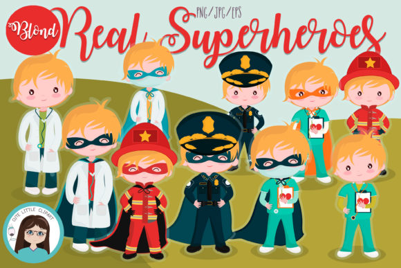 Real Superheroes Boys Blond Graphic Illustrations By CuteLittleClipart