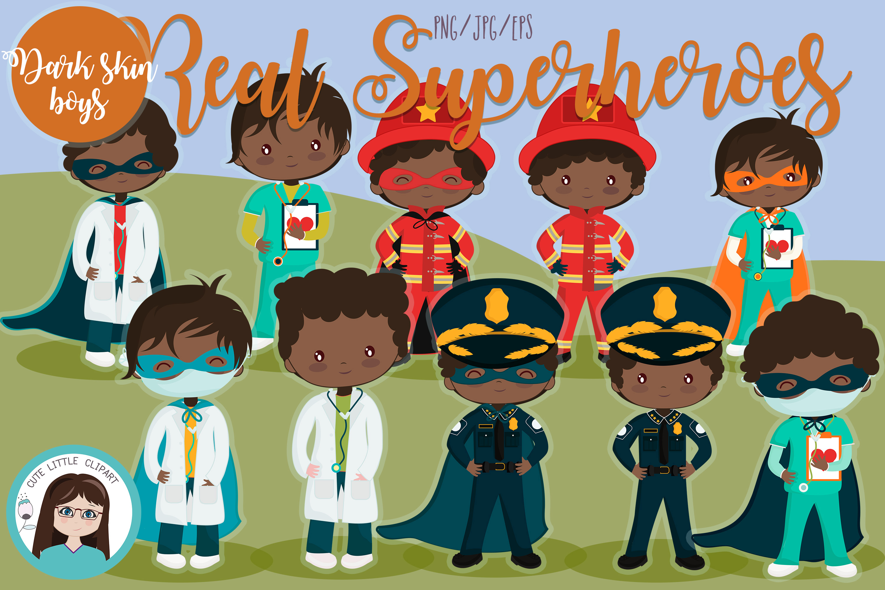 Download Free Real Superheroes Boys Dark Skin Graphic By Cutelittleclipart for Cricut Explore, Silhouette and other cutting machines.