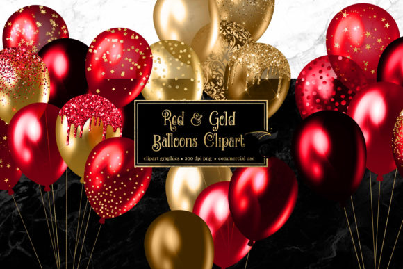 Red and Gold Balloons Clipart Graphic Illustrations By Digital Curio
