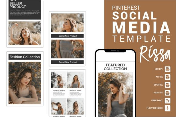 Download Free Rissa Fashion Pinterest Templates Graphic By Eight Template Studio Creative Fabrica for Cricut Explore, Silhouette and other cutting machines.