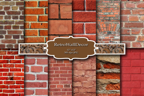 Print on Demand: Rustic Brick Digital Paper Graphic Backgrounds By retrowalldecor