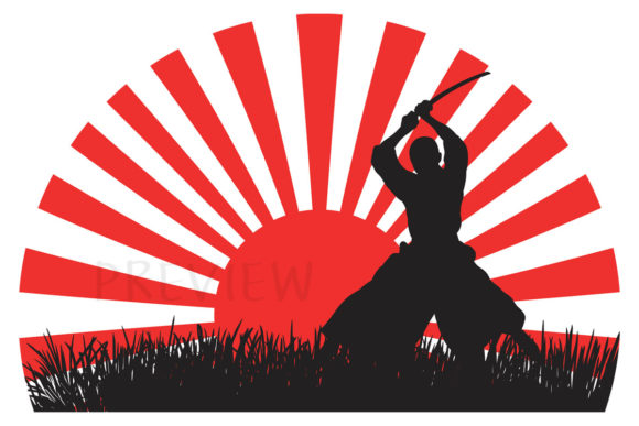 Print on Demand: Samurai Warrior Japanese Red Rising Sun Graphic Illustrations By SunandMoon