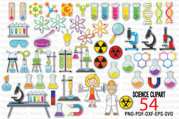 Print on Demand: Science Laboratory Clip Art Graphic Print Templates By FounDream