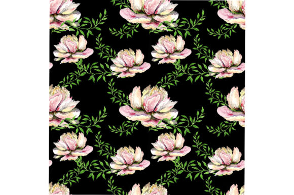 Print on Demand: Seamless Peonies Pattern on Black Graphic Patterns By kakva