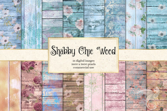 Print on Demand: Shabby Chic Wood Digital Paper Graphic Textures By Digital Curio