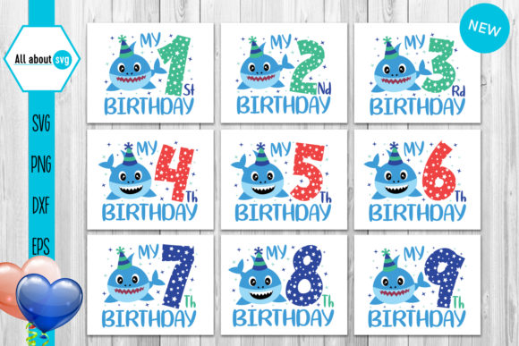 Sharks Birthday Numbers Bundle  Graphic Crafts By All About Svg