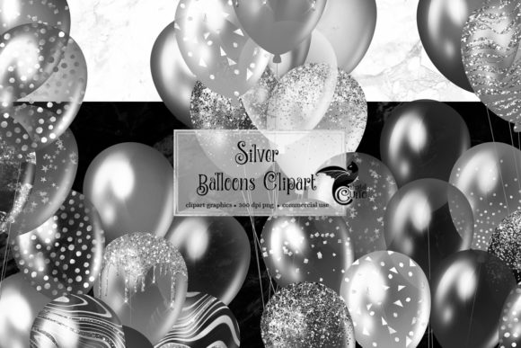 Print on Demand: Silver Balloons Clipart Graphic Illustrations By Digital Curio