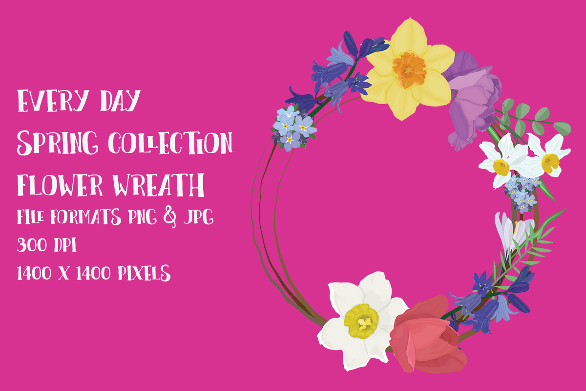 Download Free Spring Flower Wreath Graphic By My Little Black Heart Creative Fabrica for Cricut Explore, Silhouette and other cutting machines.