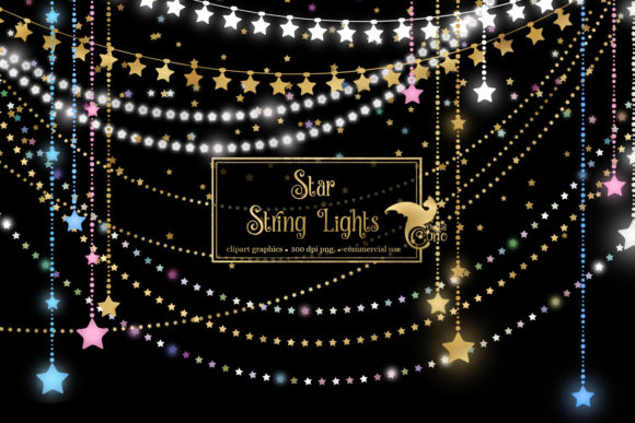 Star String Lights Clipart Grafik Illustrationen von Digital Curio