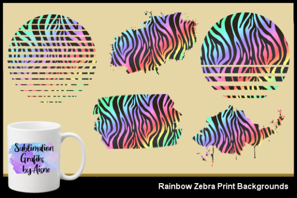 Print on Demand: Sublimation Rainbow Zebra Backgrounds Graphic Backgrounds By Aisne - Image 1