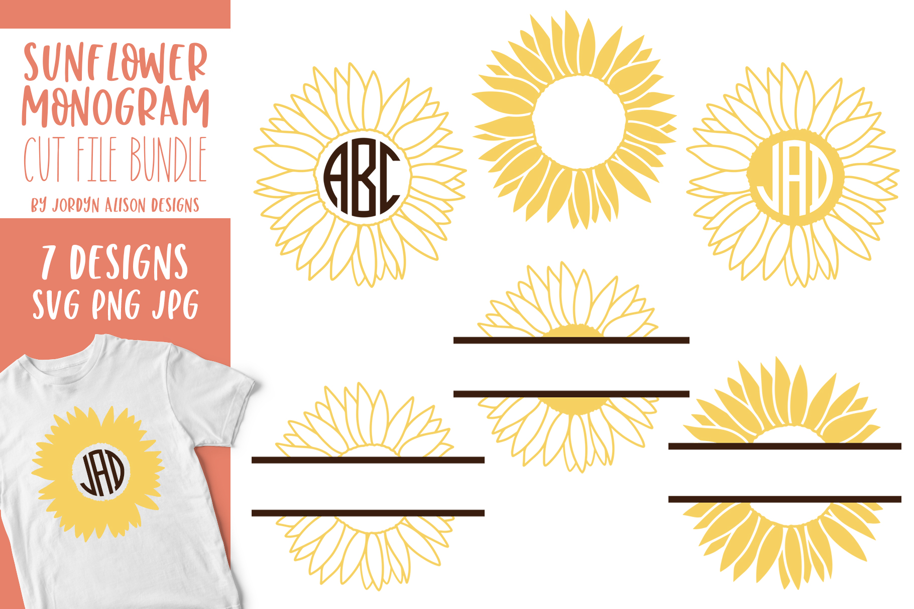 Download Free Sunflower Split Monogram Graphic By Jordynalisondesigns for Cricut Explore, Silhouette and other cutting machines.
