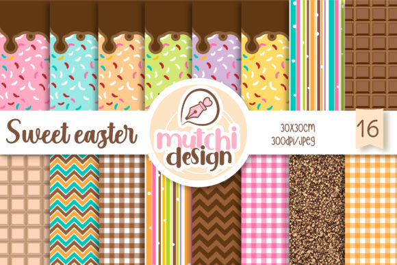 Print on Demand: Sweet Easter Digital Papers Graphic Backgrounds By Mutchi Design