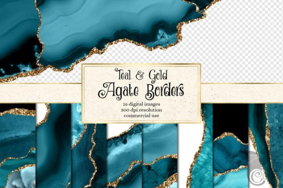 Teal and Gold Agate Borders Graphic Textures By Digital Curio