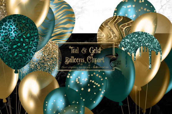 Print on Demand: Teal and Gold Balloons Clipart Graphic Illustrations By Digital Curio