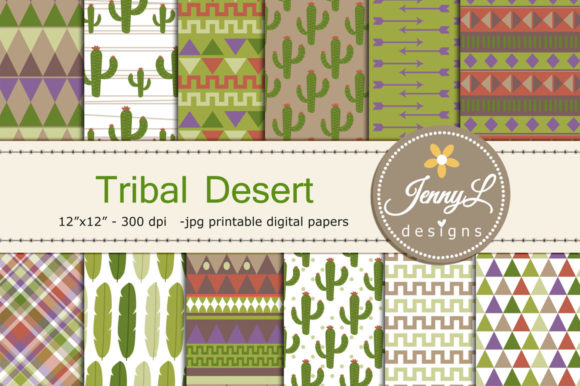 Tribal Desert Digital Papers Graphic Backgrounds By jennyL_designs