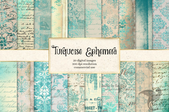 Turquoise Ephemera Digital Paper Graphic Textures By Digital Curio