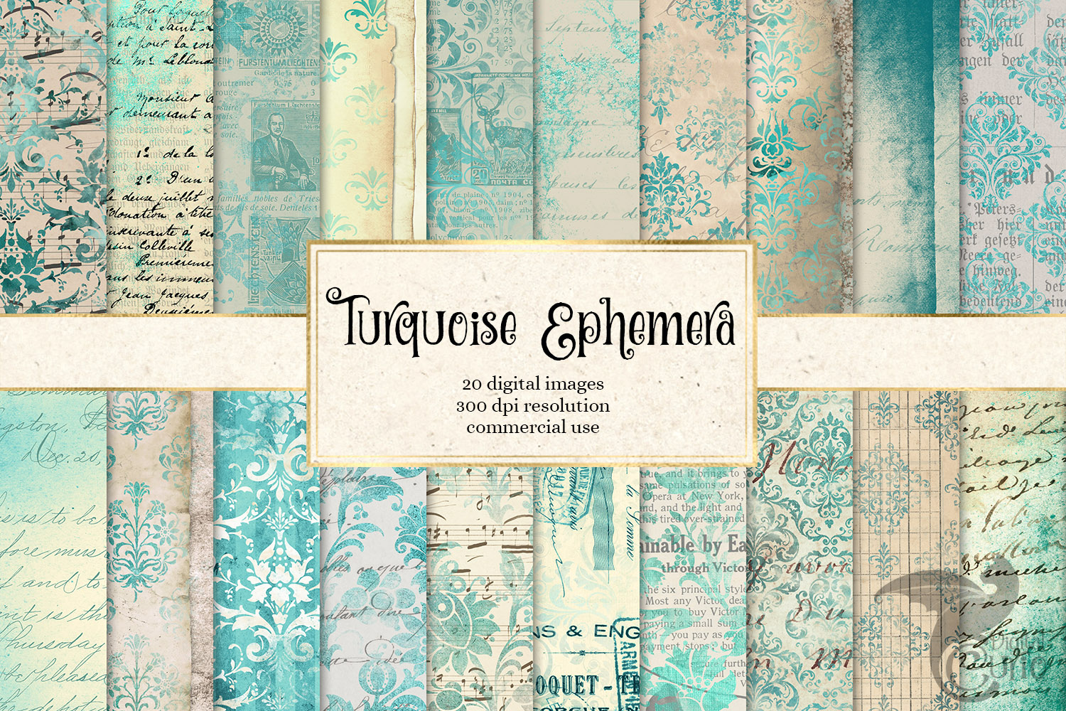 Download Free Turquoise Ephemera Digital Paper Graphic By Digital Curio for Cricut Explore, Silhouette and other cutting machines.