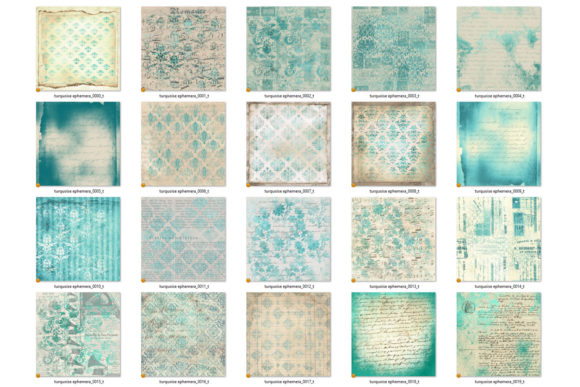 Print on Demand: Turquoise Ephemera Digital Paper Graphic Textures By Digital Curio - Image 5