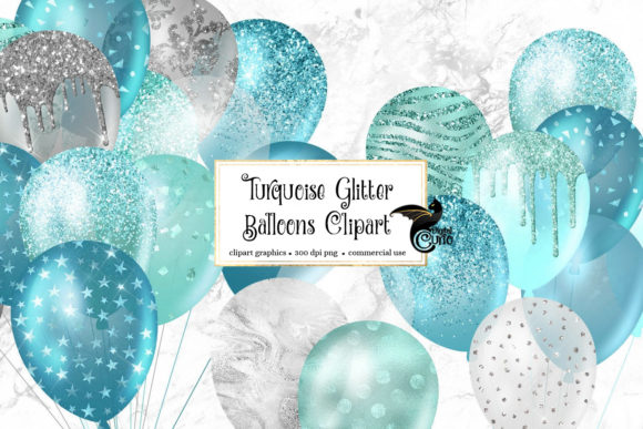 Print on Demand: Turquoise Glitter Balloons Clipart Graphic Illustrations By Digital Curio